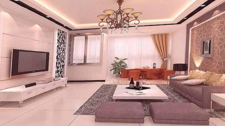 Декоративная отделка стены в гостиной