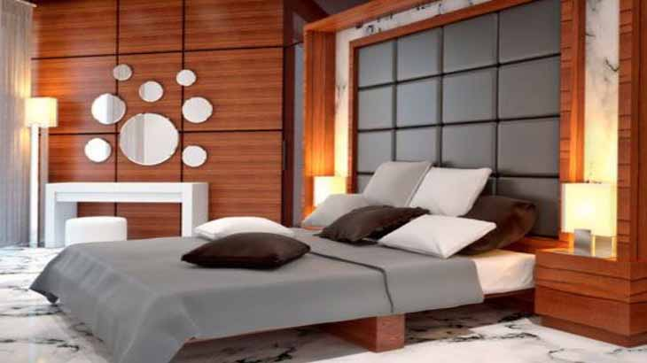 Панели из шпона в спальне