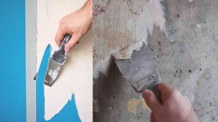 Очистка старой краски и обоев со стены