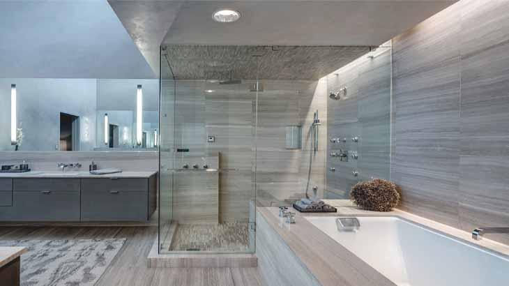 Стиль хай-тек в ванной, освещение