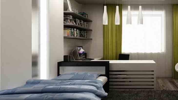 Спальная зона в комнате для подростка