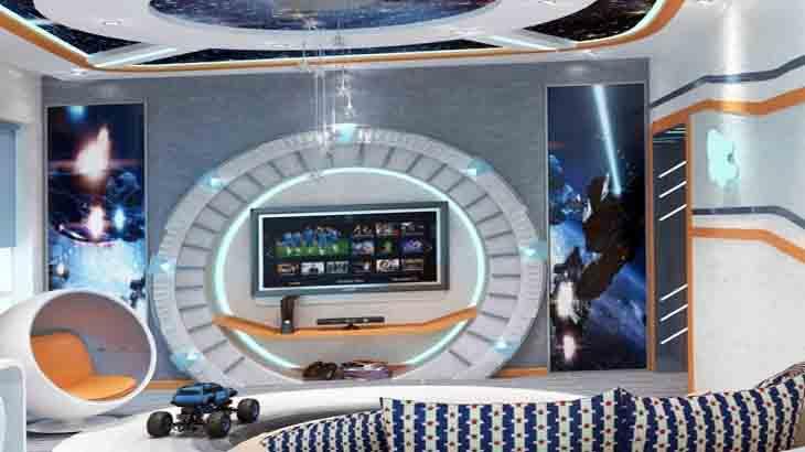 Космический интерьер в комнате мальчика