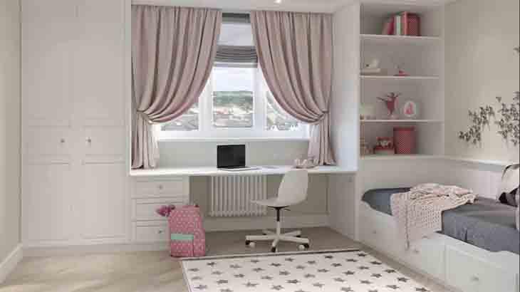 Мебель белого цвета в комнате для девочки