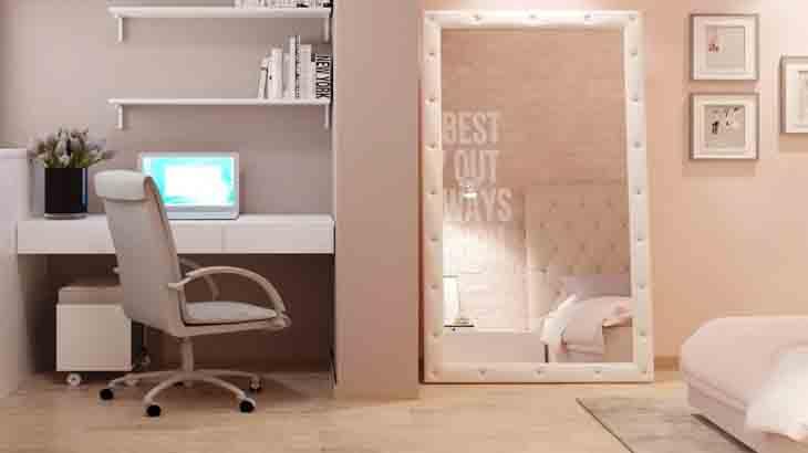 Зеркало в интерьере  комнаты девочки-подростка
