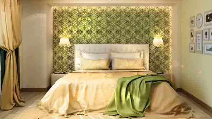 Желто-зеленый интерьер спальни
