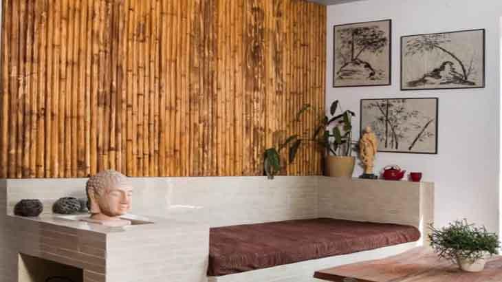 Стена из бамбуковых полотен