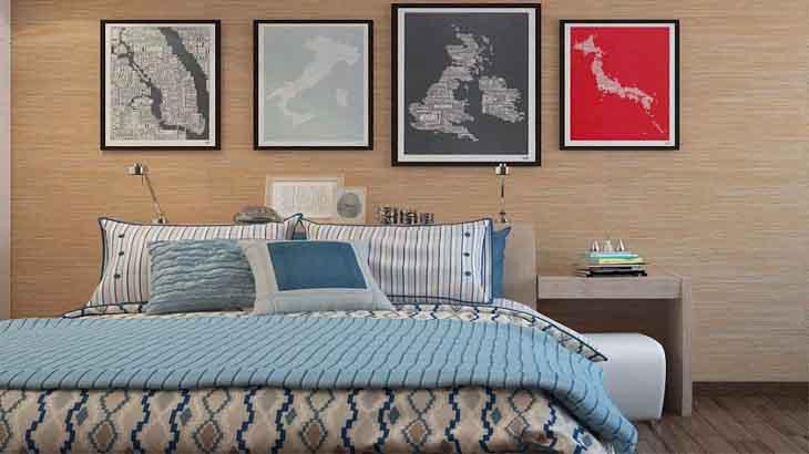 Спальня отданная бамбуковым полотном