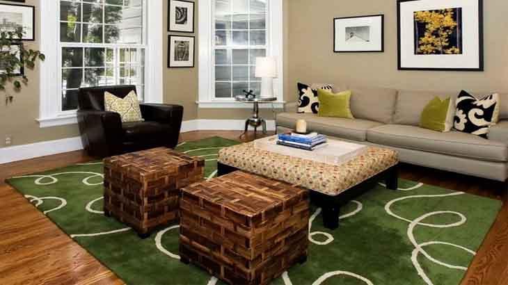 Яркий, зеленый ковер в гостиной