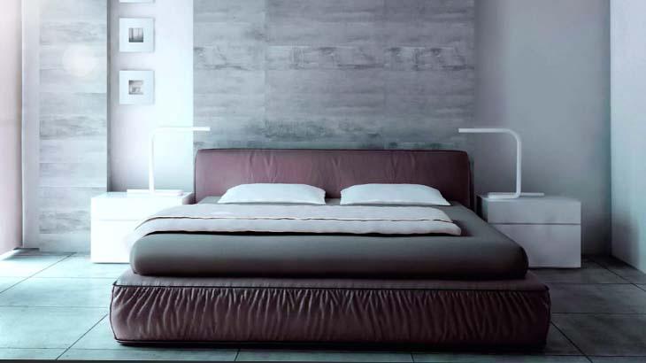 Бетонные стены  в спальне