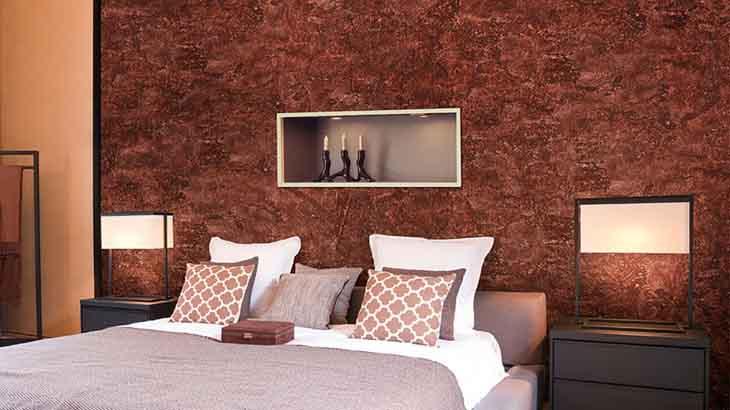 Декоративная штукатурка стен в спальне