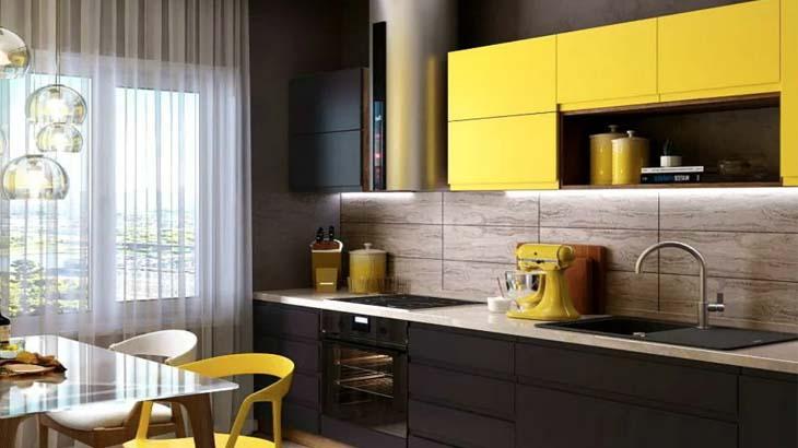 Желтая стильная кухня
