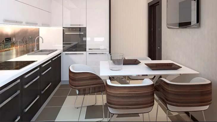 Коричневая кухня в современном стиле