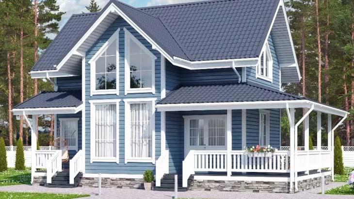 Дом с крыльцом и верандой
