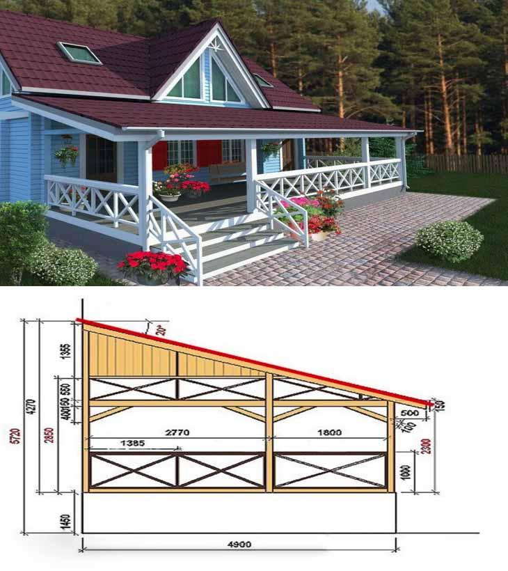 Проект террасы со скошенной крышей