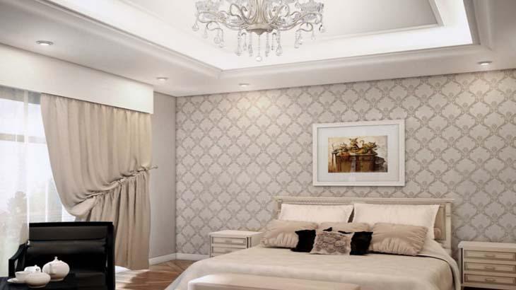 Светлая спальня с потолком из гипсокартона