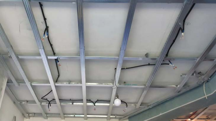 Монтаж освещения для потолка из гипсокартона
